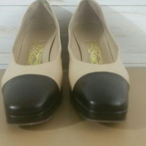 Salvatore Ferragamo Shoes - Salvatore Ferragamo cream/black chunky heel pumps
